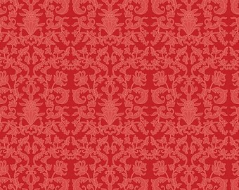 Riley Blake, Into The Garden by Amanda Herring, Garden Damask Red, fabric by the yard