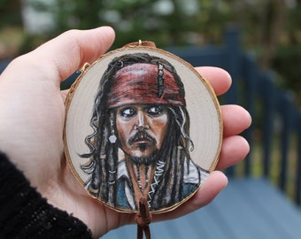 Pirates of the caribbean- Jack Sparrow Original handpainted portrait on wood- Wall Decoration