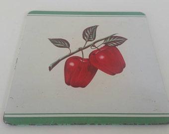 Vintage Pro-Tex Table Mat. Cherry Graphic. Trivet. 1970s