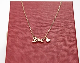 Rose Gold Necklace, Love Necklace,Gold Heart Necklace, Layering Necklace, Delicate, Valentine's Day, Birthday, Friend Gifts