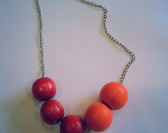 Bright necklace with wooden beads