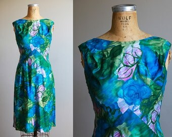 1960s Sleeveless Floral Watercolor Print Dress