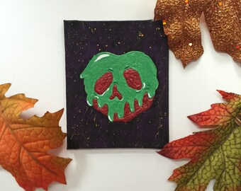 4x5 Glow in the dark poision Apple Painting-Fine Art Original