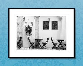 Fine art photography, framed art prints, french vintage wall art, french cafe, black and white print, Corsica, home improvement, home decor
