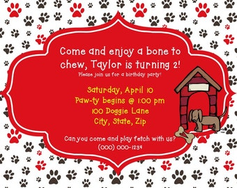 Dog Birthday Party Invitation-Printable PDF