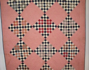 Antique 1850, Hand Pieced and Quilted, 9 Point Quilt