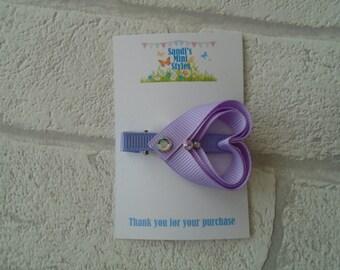 Handmade Heart sparkle clip, valentines, hair accessory, hair clip