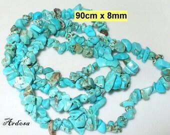 1 strand 90cm turquoise splitter Rek. 8-10 mm (704.2)