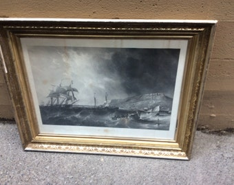 Antique nautical print in Victorian frame, 19th. C.