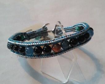 Blue ship's rope beaded bracelet