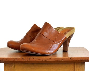 Vintage 1970's, Amber-Toned, Brown Leather, Wood-Heeled, Suede-Sole, Open-Back, Closed-Toe Clog