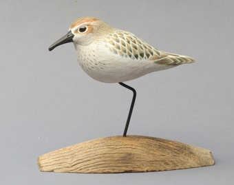 Western Sandpiper wood carving