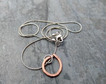 Raindrop pendant, copper pendant, hand hammered copper jewelry, copper necklace