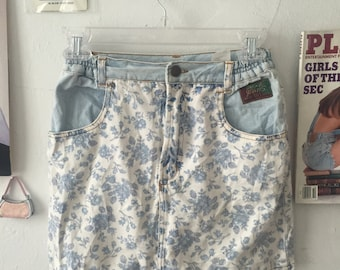 Vintage 90's Floral Denim Mini Skirt
