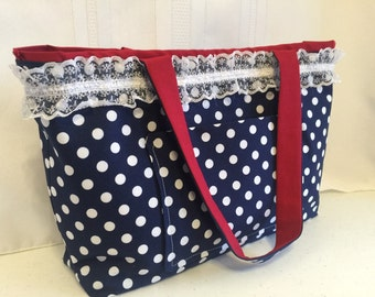 Navy Polka Dot Quilted Purse with Red Lining