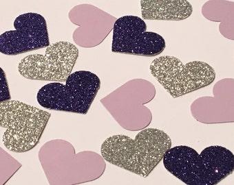 225 Heart Confetti Purple Confetti Glitter Confetti Birthday Confetti Party Confetti Wedding Confetti Shower Confetti Die Cut Punch