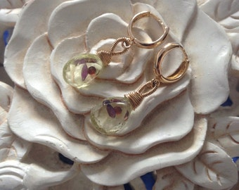 Circle earrings with lemon quartz