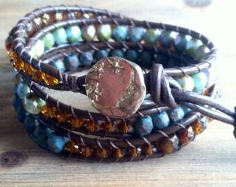 Beaded Leather Wrap Bracelet - Bohemian Bracelet - Celestial Bracelet - 3 Wrap - Leather Bracelet- Wrap Bracelet - Moon and Stars Bracelet -