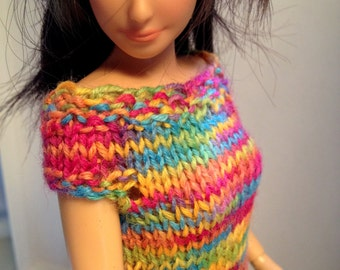 Soft Wooly Rainbow dress Lammily Clothes