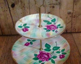 Royal Tudor two tier dessert stand made in England, vintage serving stand