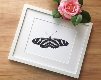 Zebra Longwing Butterfly Art Print, Wall Decor | Yellow, White, Black Butterfly Illustration | Colored Pencil Drawing by Katherine Vason