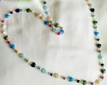 Multicolored Glass Heart Beads and Multicolored Glass Pearls Necklace