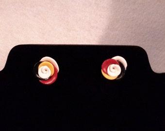 Seminole polymer clay rose earrings