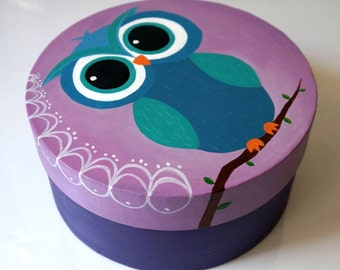 Hand Painted Owl gift box