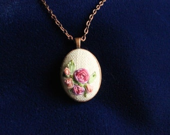 Silk Ribbon Embroidered Necklace