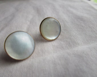 Vintage Hickok Mother of Pearl and 10K GP Solid Stud Cufflinks