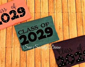 CLASS OF 2029 EMBROIDERED Grow with me shirt kindergarden, pre school, and of year shirt, autograph shirt