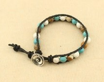 Natural turquoise beaded bracelet,one wrap bracelet for women,Leather turquoise wrap bracelet in handmade,men's jewelry,personalized,S340
