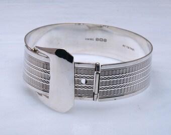 Unusual silver belt bracelet