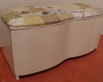 1950's Vintage Ottoman, re-upholstered in a beautiful handmade patchwork of quality fabric/Useful bedroom+bathroom storage