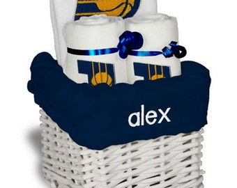 Personalized Indiana Pacers Baby Gift Basket - Bib, 2 Burp Cloths - Small