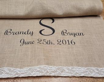 40-50 ft Custom Wedding Aisle Runner, with Burlap & Lace