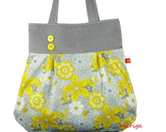 Shoulder bag yellow flowers on grey