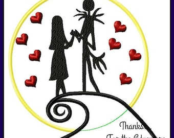 Jack Skellington and Sally from Nightmare Before Christmas Applique Digital Embroidery Machine  Design File 3.5 4x4 5x7 6x10 8x12
