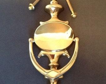 Brass door knocker, made in Canada door knocker, door accent, oval brass door knocker