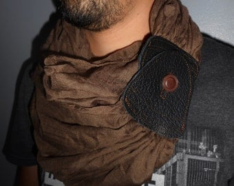 Arabic scarf man, scarf snood tricky brown leather Havana.