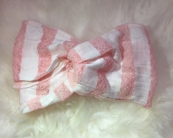 Pink Nd white strechy lace toddler girl headband