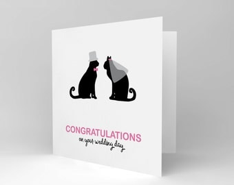 Wedding Card - Cat Gift Wedding Silhouette Veil Cats CS1881