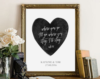 DIGITAL personalized poster/where you go I will go| Personalized Love Print,Wedding,bachelorette gift,Custom Names,Personalized Love Print,