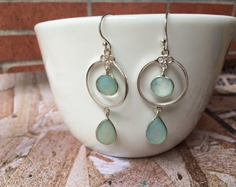 Atlantis Aqua Chalcedony Silver Earrings