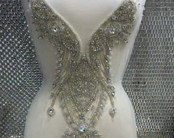 Wedding gown rhineston applique/ bridal applique/ bridal beaded embroidery