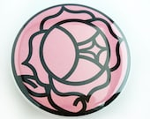 Utena Rose crest button - Ohtori Academy Crest pinback button magnet, mahou shoujo stained glass rose, Shoujo kakumei utena, rose signet