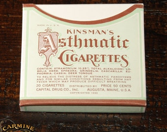 Box Of Kinsman's Asthmatic Cigarettes (Contents Not Included)