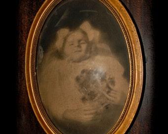 Antique Oval Framed Post Mortem Photo Of Child