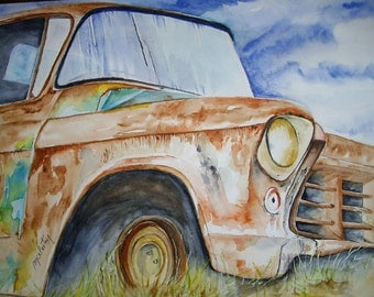 Old car American abandoned in a field