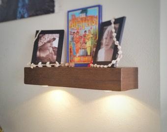 Floating Shelf with Lights, Foating Shelf, Floating Shelves, Rustic Shelf, Wood Shelf, Home Décor, Chunky Shelf, Fireplace Mantel